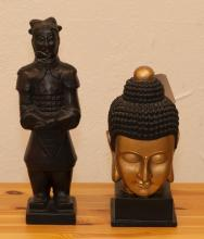 Two Asian design sculptures, Buddha head and a soldier