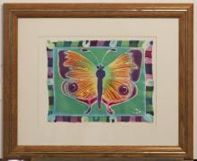 Gary Fey, framed silk piece depicting a butterfly