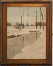 A.M. Smith, early 20th century, Winter landscape with creek, watercolor on paper,