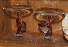 Pair of art glass tazzea