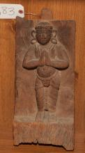 Asian carved wood Buddha temple relief plaque