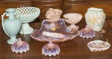 Collection of assorted pink / blue glass and ceramic articles, 11 items in total