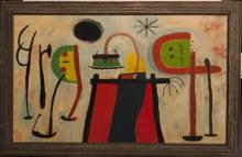Abstract painting in the style of Miro, oil on board, unsigned, framed