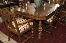 Nine piece Jacobean style dining room ensemble, china cabinet, buffet, table and six chairs