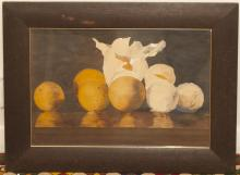 Early 20th Century watercolor, still life, framed