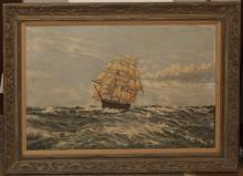 Canvas painting depicting a ship at sea, framed