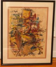 Anna Dean Dulaney, abstract composition, 1962, acrylic on paper, signed lower left, framed