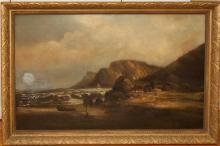 Charles Keats, British 19th/20th century, Cottage by the shore, oil on canvas, 29 1/2 x 47 1/2 inches