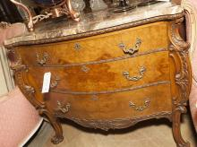 French Louis XV design server with serpentine top above three graduating drawers