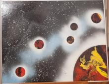 Outerspace painting, signed J