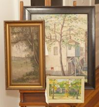 Three paintings, one signed blatherwick, depicting a house, other is small landscape painting, signed lower right, J