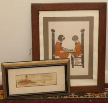 Two framed pieces: small Japanese painting and print of two children playing chess, after Jessie Willcox Smith