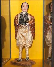Japanese warrior doll in display case