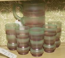 Vintage American six piece juice set, pitcher and five cups