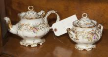 Two pieces of German Dresden, porcelain tea pot and sugar bowl