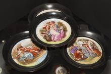 Four Continental porcelain plaques with Classical figural decorations