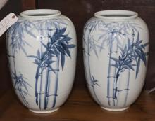 Pair of 20th century Chinese blue and white porcelain vases, bamboo design