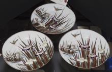 Three Japanese porcelain plates, hand painted enamel decoration