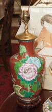 Chinese cloisonne vase as a table lamp