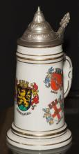 German beer stein with lithopane and gilt highlights