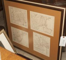 Four reproduction maps framed together from the American Colonial and Revolutionary War periods