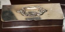 Wallace, Baroque pattern plated hinged top dresser box