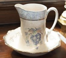 Chinese Dresden pitcher together with bowl