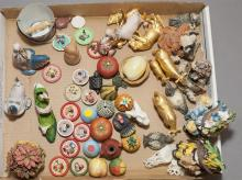 Collection of figurines, miniature clay animals and vegetables, Boyd's Bears and Friends creatures and more