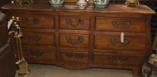 Century Furniture French Louis XV design Bombay form dresser with three short drawers centering six long drawers