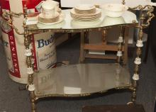 French design roll around cart with two mirrored shelves with all over gilt metal and porcelain decoration
