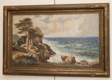 American school 20th century, Monterary Bay, CA, oil on canvas, 24 x 40 inches