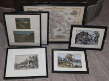 Six framed pictures including an etching and a map of Greece