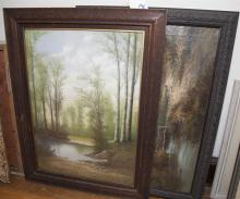 Two 19th century framed paintings, oil/canvas of landscape with cottage and figure, signed LGrant and pastel, wooded landscape with ...