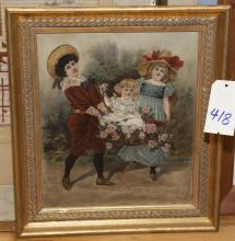 Gilt framed print on canvas of three young gilrs with flowers