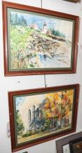 A P Bennett; American, two framed watercolors of landscapes, lighthouse and city scene, signed