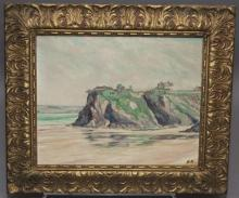 N. H., Early 20th century, Coastal Scene, oil on masonite, 15 1/2 x 19 1/2 inches