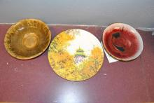 Two bowls artist signed by (Yano, Gerty Hacker), and Royal Doulton plate