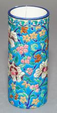 French Longwy pottery cylinder vase, floral decoration.