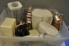 Collection of kitchen items including two coffee makers, blender, can opener, electric hand mixer, and more