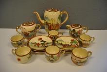 Fifteen piece Satsuma tea set