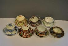 Seven hand painted and transferware English cups and saucers