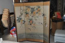Three panel Asian room screen having silk banded frame and featuring flowering trees with birds, height: 66 inches, total width: 60...