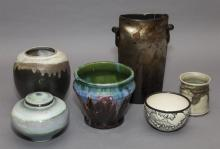 Collection of studio ceramics, six pieces total.