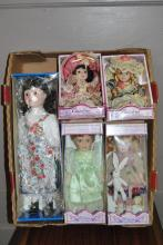 Collection of five assorted dolls all in original boxes