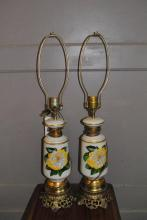 Pair of porcelain table lamps with floral transfer decoration