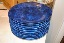 Eleven Philippe Deshoulieres Lavage Machine porcelain service plates, marbelized cobalt, d: 11 5/8 in