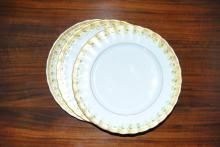 Eleven French Bawo & Dotter porcelain luncheon plates, encrusted gilt and green ovalos borders, 8 3/4 in