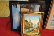 Parisian street scene and Venetian canal scene, oil on canvas paintings, framed