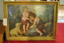 Infant Christ and John the Baptist, 20th century, oil on board, framed