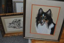 Five framed works of art, mostly limited edition signed prints, animals.